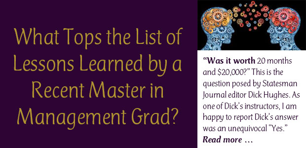 What tops the List of Lessons Learned by a Recent Master in Management Grad?