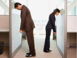 Unhappy Employees Banging Their Heads on Cubicles