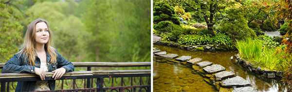 Contemplative Girl at Forest Bridge with Stone Path over Creek Diptych