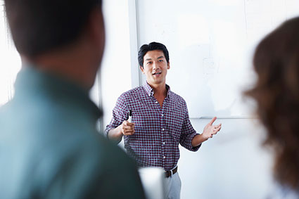Business Leader Inspiring Employees