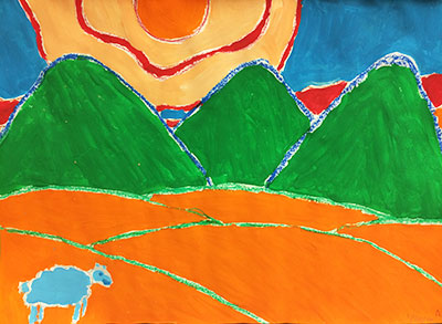 Mentee Artwork (Orange Fields Green Mountains with Lamb)