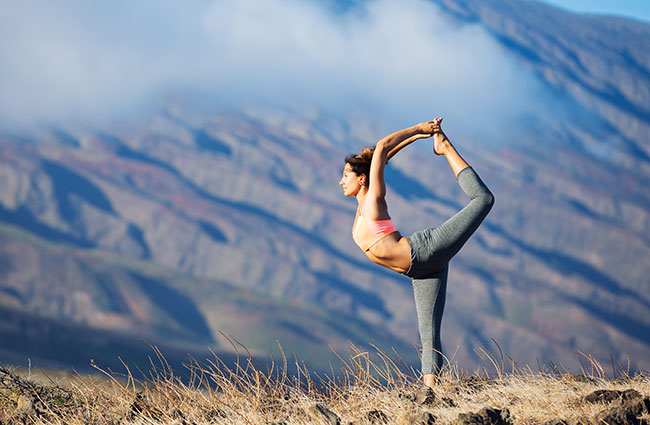 Yoga Stretch in Mountains