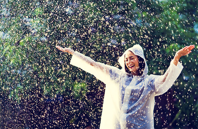 Woman Relaxing and Playing in a Rain Shower