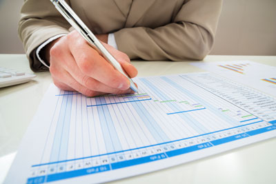 Employee Working with Gantt Chart