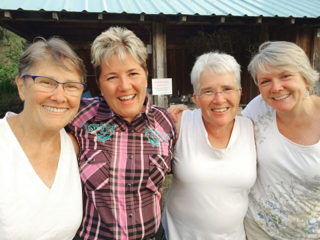 Suzanne Willow, Vicki Purslow, Lanita Witt, and Chris Cook at Willow-Witt Ranch